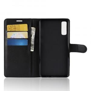 Чехол портмоне подставка на силиконовой основе с отсеком для карт на магнитной защелке для Samsung Galaxy A7 (2018)