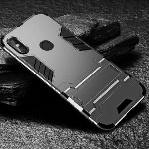 Противоударный двухкомпонентный силиконовый матовый непрозрачный чехол с поликарбонатными вставками экстрим защиты с встроенной ножкой-подставкой для Xiaomi RedMi Note 5/5 Pro Серый