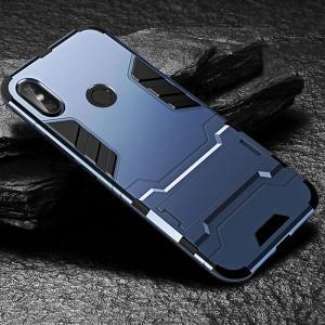 Противоударный двухкомпонентный силиконовый матовый непрозрачный чехол с поликарбонатными вставками экстрим защиты с встроенной ножкой-подставкой для Xiaomi RedMi Note 5/5 Pro Синий