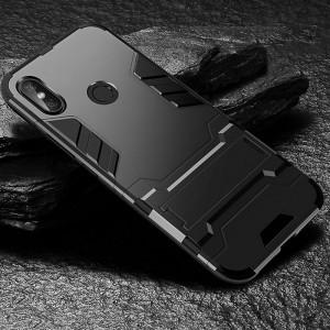 Противоударный двухкомпонентный силиконовый матовый непрозрачный чехол с поликарбонатными вставками экстрим защиты с встроенной ножкой-подставкой для Xiaomi RedMi Note 5/5 Pro Черный