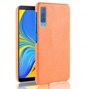 Пластиковый непрозрачный матовый чехол накладка с текстурным покрытием Крокодил для Samsung Galaxy A7 (2018)