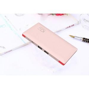 Тонкое 13мм портативное зарядное устройство 10000 мАч с 2-я USB разъемами, LED-фонариком и встроенными кабелями Lightning и microUSB Розовый