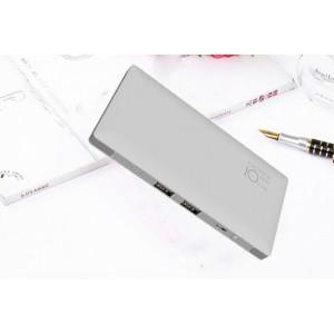 Тонкое 13мм портативное зарядное устройство 10000 мАч с 2-я USB разъемами, LED-фонариком и встроенными кабелями Lightning и microUSB Серый
