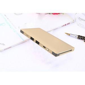 Тонкое 13мм портативное зарядное устройство 10000 мАч с 2-я USB разъемами, LED-фонариком и встроенными кабелями Lightning и microUSB Бежевый