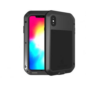 Эксклюзивный многомодульный ультрапротекторный пылевлагозащищенный ударостойкий нескользящий чехол алюминиево-цинковый сплав/силиконовый полимер с закаленным защитным стеклом для Iphone XS  Черный
