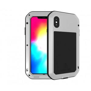 Эксклюзивный многомодульный ультрапротекторный пылевлагозащищенный ударостойкий нескользящий чехол алюминиево-цинковый сплав/силиконовый полимер с закаленным защитным стеклом для Iphone XS  Серый