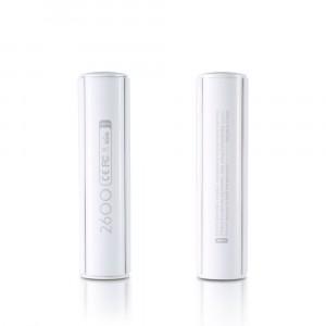 Ультракомпактное портативное зарядное устройство 2600 мАч с USB разъемом (5V/1A) и LED-индикатором процесса заряда дизайн Батарейка Белый