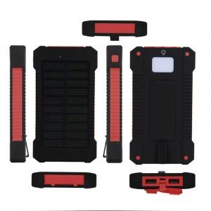 Портативное зарядное устройство 10000mAh в противоударном пылевлагозащищенном корпусе c солнечной батареей, LED-фонариком, 2 разъемами USB и петлей для карабина Красный