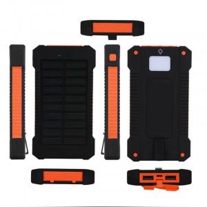 Портативное зарядное устройство 10000mAh в противоударном пылевлагозащищенном корпусе c солнечной батареей, LED-фонариком, 2 разъемами USB и петлей для карабина Оранжевый