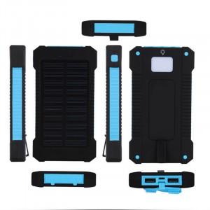 Портативное зарядное устройство 10000mAh в противоударном пылевлагозащищенном корпусе c солнечной батареей, LED-фонариком, 2 разъемами USB и петлей для карабина Голубой