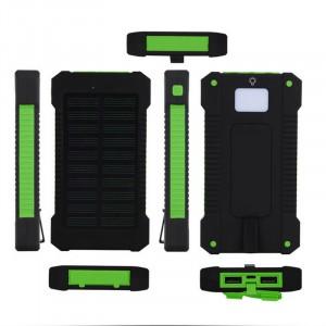 Портативное зарядное устройство 10000mAh в противоударном пылевлагозащищенном корпусе c солнечной батареей, LED-фонариком, 2 разъемами USB и петлей для карабина Зеленый