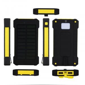 Портативное зарядное устройство 10000mAh в противоударном пылевлагозащищенном корпусе c солнечной батареей, LED-фонариком, 2 разъемами USB и петлей для карабина Желтый