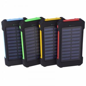 Портативное зарядное устройство 10000mAh в противоударном пылевлагозащищенном корпусе c солнечной батареей, LED-фонариком, 2 разъемами USB и петлей для карабина