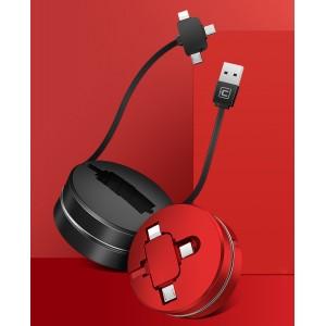 Универсальный интерфейсный силиконовый антизапутывающийся автосматываемый кабель-улитка 3в1 (USB - Lightning/MicroUSB/Type-C) 1м