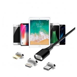 Интерфейсный кабель в тканевой оплетке со сменными магнитными коннекторами (Lightning/MicroUSB/Type-C) и световым индикатором 1м