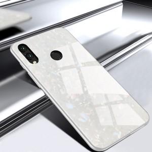 Силиконовый матовый непрозрачный чехол с стеклянной накладкой и текстурным покрытием Камень для Huawei Honor 8X  Белый