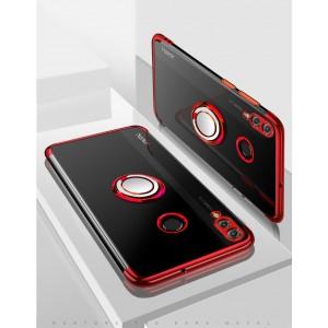 Силиконовый глянцевый транспарентный чехол с кольцом-подставкой для Huawei Honor 8X Красный