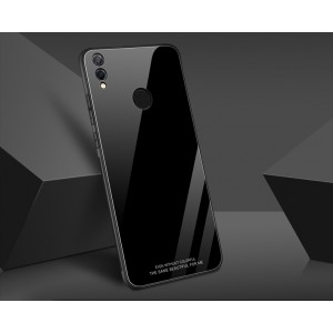 Силиконовый матовый непрозрачный чехол с стеклянной накладкой для Huawei Honor 8X Черный