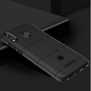 Силиконовый матовый непрозрачный чехол с улучшенной защитой элементов корпуса и текстурным покрытием Клетка для Huawei Honor 8X  Черный