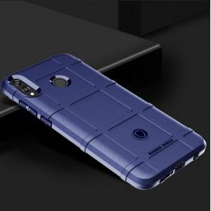 Силиконовый матовый непрозрачный чехол с улучшенной защитой элементов корпуса и текстурным покрытием Клетка для Huawei Honor 8X  Синий