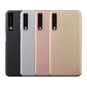 Силиконовый матовый непрозрачный чехол с текстурным покрытием Карбон для Samsung Galaxy A7 (2018)