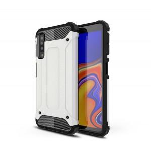 Противоударный двухкомпонентный силиконовый матовый непрозрачный чехол с поликарбонатными вставками экстрим защиты для Samsung Galaxy A7 (2018)