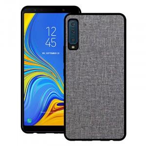 Силиконовый матовый непрозрачный чехол с текстурным покрытием Ткань для Samsung Galaxy A7 (2018)