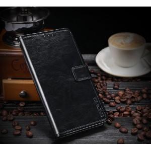 Глянцевый водоотталкивающий чехол портмоне на силиконовой основе с отсеком для карт на магнитной защелке для Huawei Honor 8X Черный