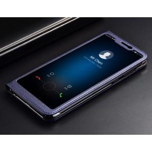 Кожаный чехол горизонтальная книжка на пластиковой основе с полноэкранным окном вызова для Huawei Honor 8X Синий