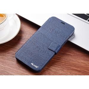 Чехол горизонтальная книжка подставка текстура Дерево на силиконовой основе с отсеком для карт на магнитной защелке для Huawei Honor 8X  Синий