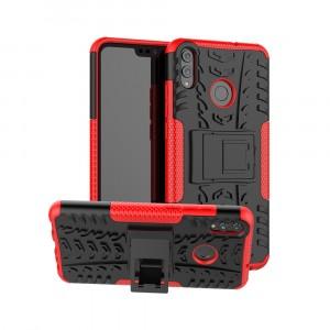 Антиударный двухкомпонентный силиконовый матовый непрозрачный чехол с нескользящими гранями, улучшенной защитой элементов корпуса и встроенной ножкой-подставкой для Huawei Honor 8X Красный