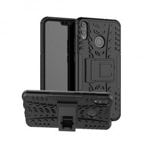 Антиударный двухкомпонентный силиконовый матовый непрозрачный чехол с нескользящими гранями, улучшенной защитой элементов корпуса и встроенной ножкой-подставкой для Huawei Honor 8X Черный