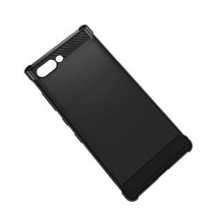 Силиконовый матовый непрозрачный чехол с усиленными углами с текстурным покрытием Карбон для BlackBerry KEY2 Черный