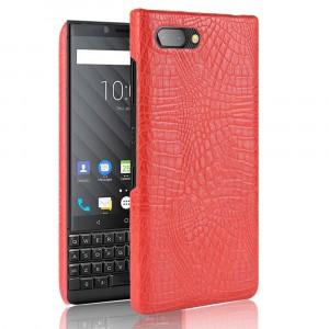 Чехол накладка текстурная отделка Крокодил для BlackBerry KEY2 Красный