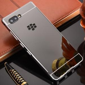 Двухкомпонентный чехол c металлическим бампером с поликарбонатной накладкой и зеркальным покрытием для BlackBerry KEY2  Черный