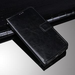 Глянцевый водоотталкивающий чехол портмоне подставка на силиконовой основе с отсеком для карт на магнитной защелке для BlackBerry KEY2 Черный