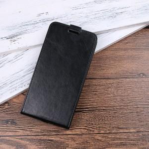 Чехол горизонтальная книжка на силиконовой основе с отсеком для карт на магнитной защелке для BlackBerry KEY2 Черный