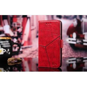 Винтажный чехол портмоне подставка текстура Линии на силиконовой основе с отсеком для карт на магнитной защелке для Huawei Honor 8X Красный