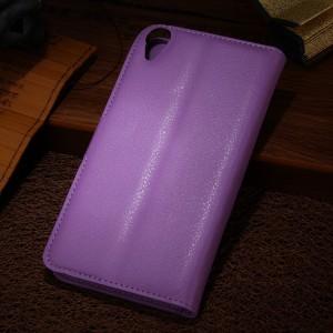 Чехол портмоне подставка на силиконовой основе на магнитной защелке для HTC Desire 820  Фиолетовый