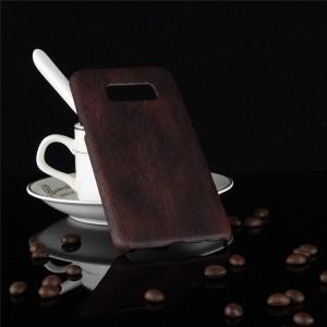 Пластиковый непрозрачный матовый чехол накладка с текстурным покрытием Дерево для Samsung Galaxy S8  Черный