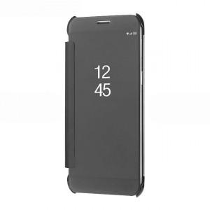 Двухмодульный пластиковый непрозрачный матовый чехол флип с полупрозрачной смарт крышкой с зеркальным покрытием для Samsung Galaxy A8  Черный