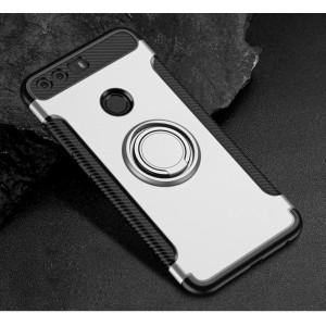 Силиконовый матовый непрозрачный чехол с нескользящими гранями, поликарбонатной накладкой и встроенным кольцом-подставкой для Huawei Honor 8 Белый