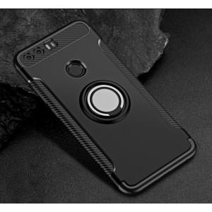 Силиконовый матовый непрозрачный чехол с нескользящими гранями, поликарбонатной накладкой и встроенным кольцом-подставкой для Huawei Honor 8 Черный