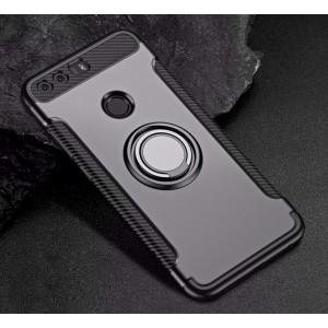 Силиконовый матовый непрозрачный чехол с нескользящими гранями, поликарбонатной накладкой и встроенным кольцом-подставкой для Huawei Honor 8 Серый