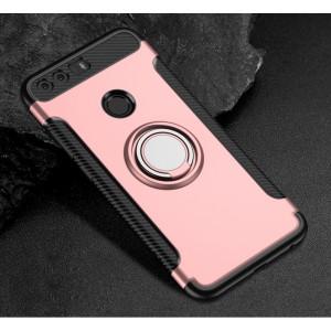 Силиконовый матовый непрозрачный чехол с нескользящими гранями, поликарбонатной накладкой и встроенным кольцом-подставкой для Huawei Honor 8 Розовый