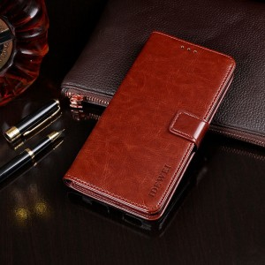 Глянцевый чехол портмоне подставка на силиконовой основе с отсеком для карт на магнитной защелке для Alcatel 5V Коричневый