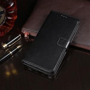 Глянцевый чехол портмоне подставка на силиконовой основе с отсеком для карт на магнитной защелке для Alcatel 5V Черный