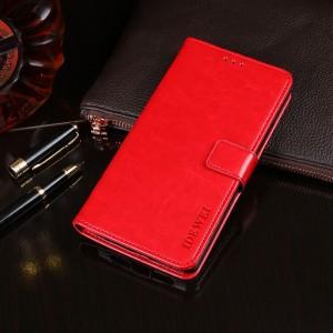 Глянцевый чехол портмоне подставка на силиконовой основе с отсеком для карт на магнитной защелке для Alcatel 5V Красный