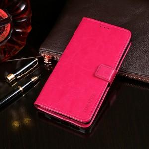 Глянцевый чехол портмоне подставка на силиконовой основе с отсеком для карт на магнитной защелке для Alcatel 5V Розовый