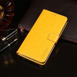 Глянцевый чехол портмоне подставка на силиконовой основе с отсеком для карт на магнитной защелке для Alcatel 5V Желтый